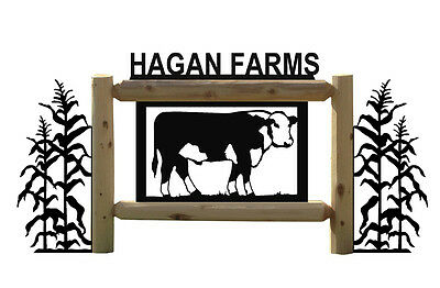 Hereford Cattle & Cornstalks Farm & Ranch Country Signs-Cows-Corn Stalks #15246