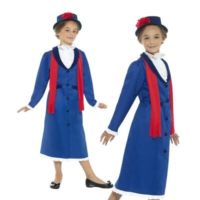 Child Victorian Nanny Costume Poppins Girls Book Week Day Fancy Dress Outfit