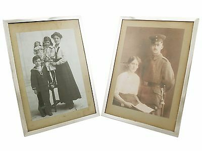 Antique George V Pair of Sterling Silver Photograph Frames, 1910s
