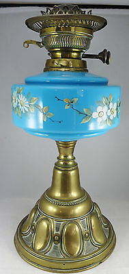 Victorian Oil Lamp Brass Base, Floral Glass Reservoir, Burner and Shade Support