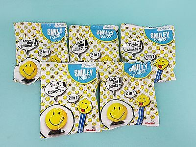 Smiley Collect World Serie I Smilies  5 x Booster mit Saugnapf Sticker + Booklet
