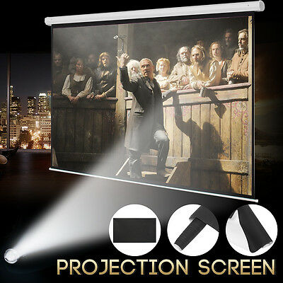 100'' Portable 16:9 Manual Home Theater Movie Projector Projection Screen White