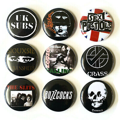 BRITISH PUNK BANDS Badges Buttons Pin Set Lot x 9 One Inch 25mm 80s UK '77 music