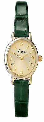 Limit Ladies Oval Gold Plated Watch Champagne Dial Green PU Strap Limit 6155