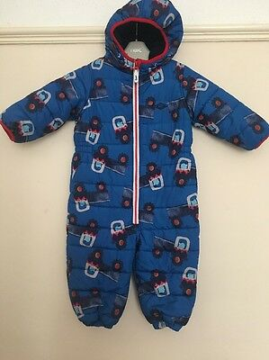 Boys Next 12-18 Months Snowsuit Winter All In One Coat Royal Blue Navy Red Truck