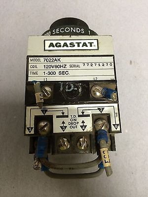 """Agastat 7022AK Time Delay Relay 1 to 300 Seconds """"Used"""""""