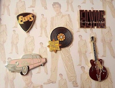 ELVIS PRESLEY Limited Edition 5 Epoxy Pin Set 2002 Rare Oldies Rock & Roll