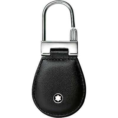 Montblanc Meisterstuck Black Leather and Steel Key Fob 14085