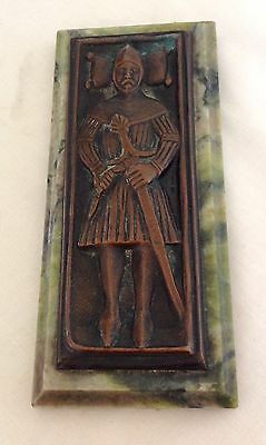 Antique Bronze Signed Ritchie AR Iona Marble Celtic MacLean of Coll Desk Weight