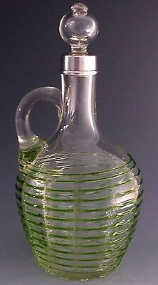 Stunning Sterling Silver Green Ribbed Glass Claret / Whisky Jug Antique 1917