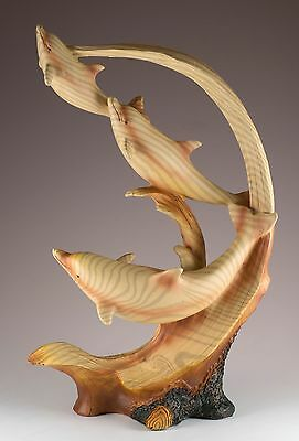 "Three Dolphins Riding Wave Carved Wood Look Figurine Resin 11.75"" High New!"