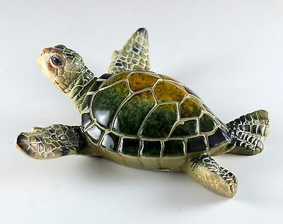 Green Sea Turtle Figurine 4.25 Inch Wide Resin New!