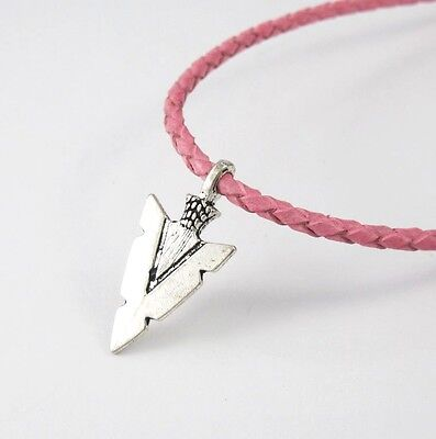 Vintage Silver Alloy Native American African Arrow Pendant Pink Leather Necklace
