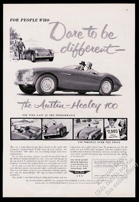 1955 Austin Healey 100 car photo and art Dare to be Different vintage print ad