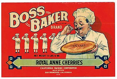 Original Crate Label Vintage C1920 Boss Baker Chef Pastry File Sample Cherry