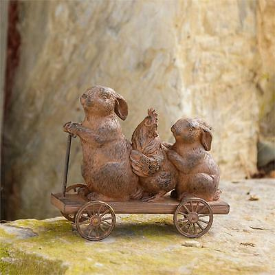 "Vintage-Style Rustic Small ""Bunnies On The Go"" Pull Toy Primitive Rabbit Chicken"