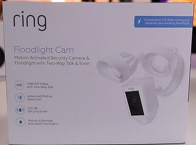 NEW RING OUTDOOR Wi-Fi Cam Camera with Motion Activated Floodlight - White