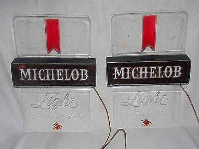2 set pair Michelob Light lighted beer signs clear acrylic  WORKING LIGHTS