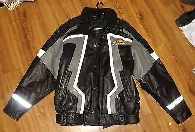 Bombardier Ski-Doo Team HEAVY Leather Jacket Size XL Tall BRP Excellent Conditio