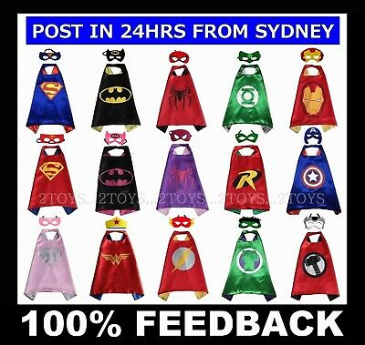 SUPERHERO CAPE & MASK ~ ADULT & CHILD KIDS Sizes ~ 70 & 110 & 140cm Costume ~NEW