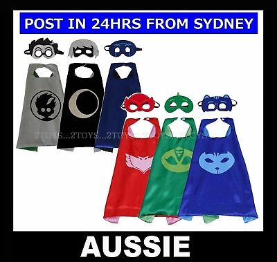 PJ Masks ~ CAPE & MASK ~ Catboy Gekko Owlette Superhero Child Costume ~ NEW