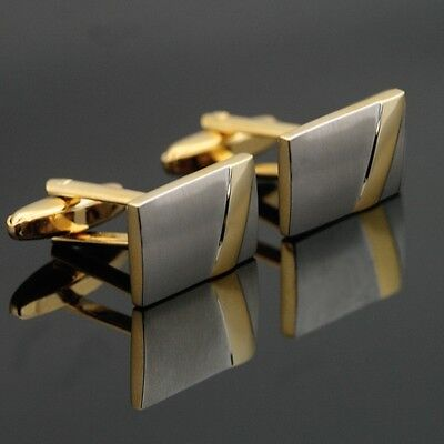 XK-147 Gold Toned Men Wedding Cufflinks Stainless Steel Gift Box FREE SHIPPING
