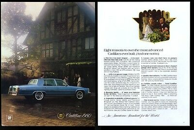 1980 Cadillac Fleetwood Brougham blue car photo vintage print ad