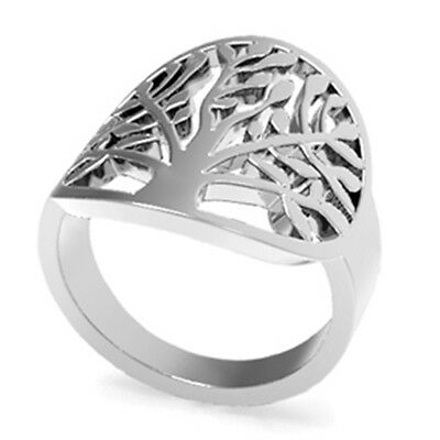 Size 4-12 Stainless Steel Leaf Ring Tree of Life Mother Leaf Daughter Wife Gifts