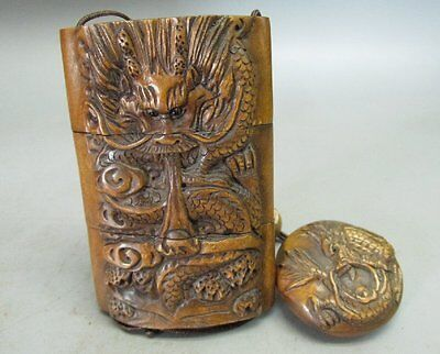 Japanese Boxwood Carved Dragon Pattern Inro (Pomander)