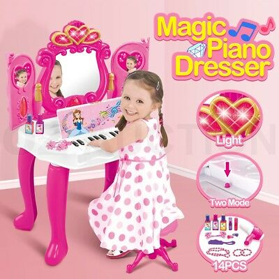 Magic Piano Dresser Mirrored Table Girls Make Up Vanity Pretend w/ Music & Light