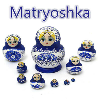 10pcs Set Russian Nesting Dolls Wooden Hand Painted Babushka Matryoshka Blue HK