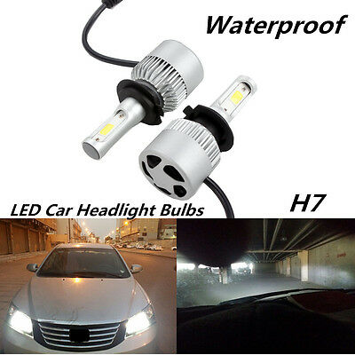 Pair 72W 16000lm Car H7 LED Hi/Lo Dual Bulb Fog Driving Headlight Kit Waterproof