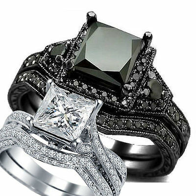 SZ 4-12 Sterling Silver Princess Cut Wedding Engagement Ring Anniversary Propose