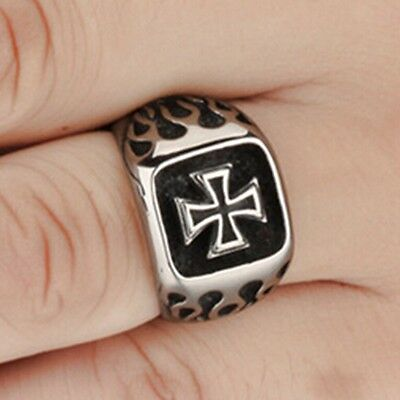 SZ 7-15 Stainless Steel Black Iron Cross Ring Fire Flame Military Crusader Biker
