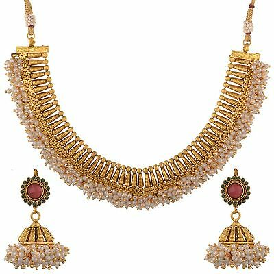 Indian bollywood Jewelry Antique Necklace Set Ethnic Gold Pated Traditional Set
