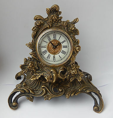 Vintage Ornate Brass Mantel/Alarm Clock Fully Working 2715
