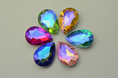 12 PCS 20mm x 30mm Colour AB Glass Faceted Glass Tear Drop Jewels Sew On