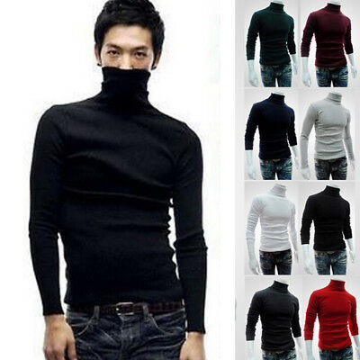 Winter Men Slim Warm Cotton High Neck Pullover Jumper Sweater Top Turtleneck