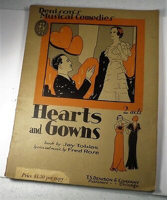 Antique 1935 Art Deco Hollywood Screen Play Book Hearts and Gowns Rare