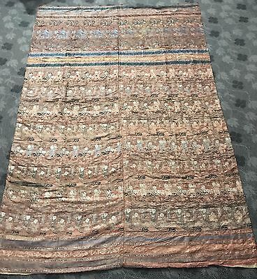 """17thC Antique Chinese Silk Brocade Hand Woven Wall Hanging Museum Piece 53""""X 83"""""""