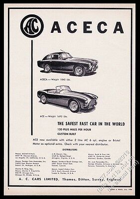 1956 AC Aceca and Ace car illustrared vintage print ad