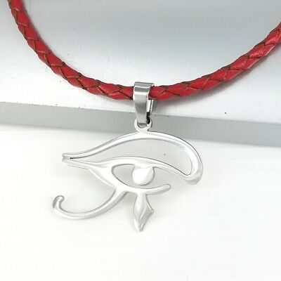 Silver Egypt Eye of Horus Wadjet Udjat Pendant Braided Red Leather Necklace
