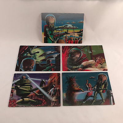 """MARS ATTACKS! HERITAGE Topps 2012 Complete """"3-DIMENSION"""" Chase Card Set (5)"""