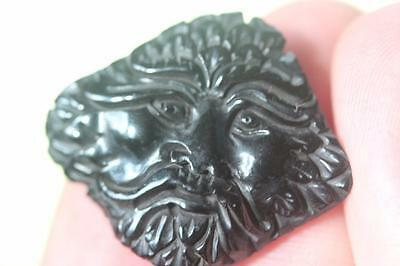 Whitby Jet Cloud Green Man Cabochon Carving Weighing 10.6Cts Plant Treefossil