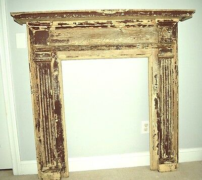 Antique brown and taupe chippy wood mantel