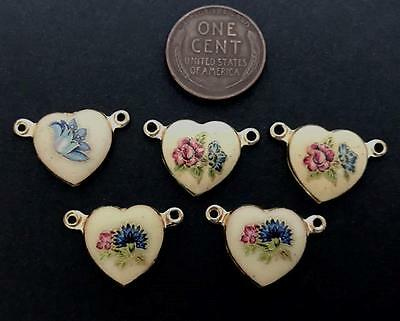 Vintage Asian Decaled Floral Heart Charms Pendants 5
