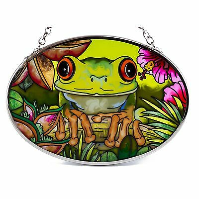 "Eye To Eye Tree Frog Suncatcher Hand Painted Glass By AMIA Studios 4.5"" x 3.25"""