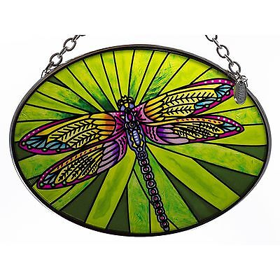 "Dramatic Dragonfly Suncatcher Hand Painted Glass By AMIA Studios 4.5"" x 3.25"""