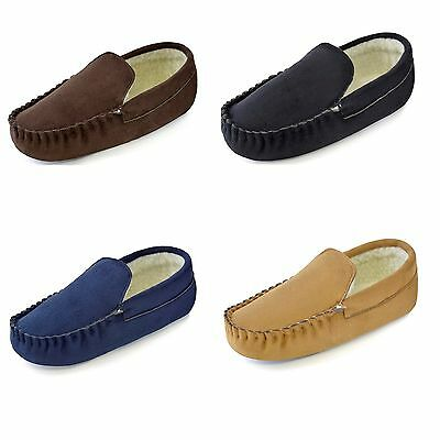 Mens Boys Gents Suede Moccasin Microfibre Fur lined Slippers Sandal Shoes 7 - 12
