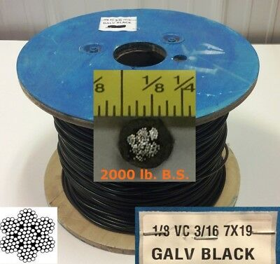 "Vinyl Coated Steel Aircraft Cable Wire Rope 100' 1/8"" VC 3/16"" 7x19 Black"